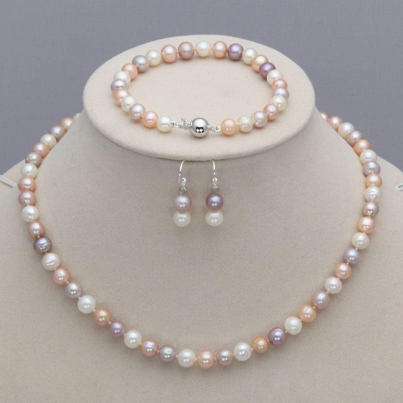 7-8mm Pink Akoya Pearl Necklace Bracelet Earring Sets