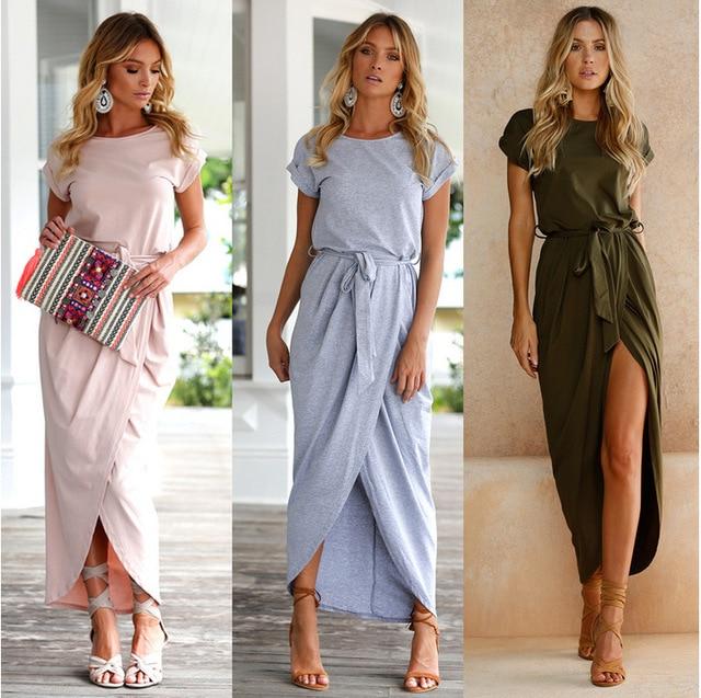 3758948adc 2018 New Elegant Beach Summer Dress Vintage Army Green Split Maxi Dress  Boho Short Sleeve Long Party Dress Vestidos-in Dresses from Women s  Clothing on ...