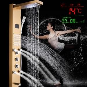Image 3 - Columna de Panel de ducha de baño de níquel cepillado, LED, lluvia, cascada, juego de grifería, manijas triples con chorro de masaje y Caño de bañera