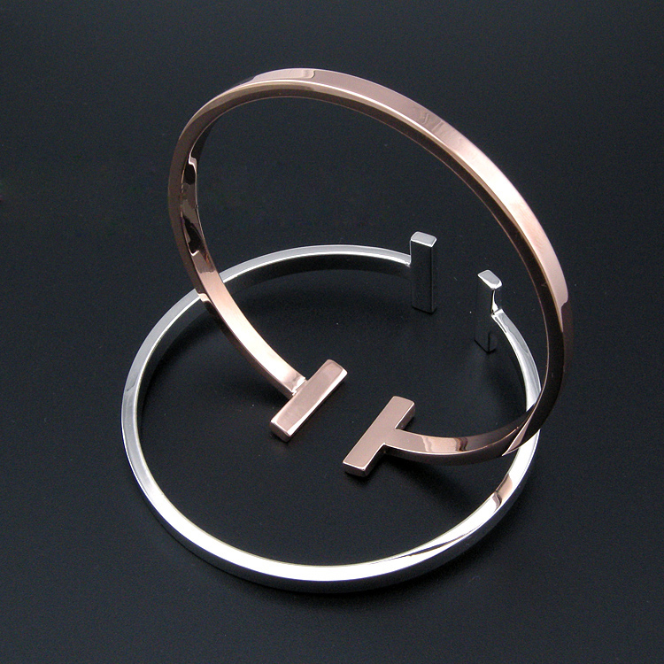 15 New design smooth cuff T bangle gold opening bracelet for men and women fashion party jewelry 2