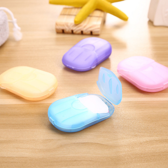Travel Portable Outdoor Hand Washing Cleaning Scented Slice Sheets Mini Paper Soap Random 20pcs Disposable Boxed Soap Paper 4