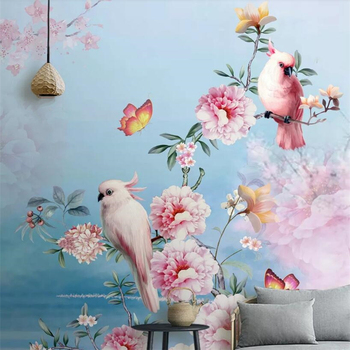 цена на beibehang Vintage mural wallpaper bird flower floral parrot TV background wall living room bedroom 3d wallpaper background mural