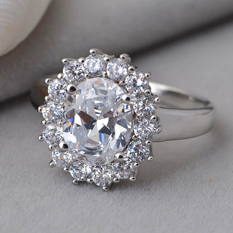 2 5ct Oval Cut Lab Created Diamond Ring Jewelry Simulated Diamond Solitaire E