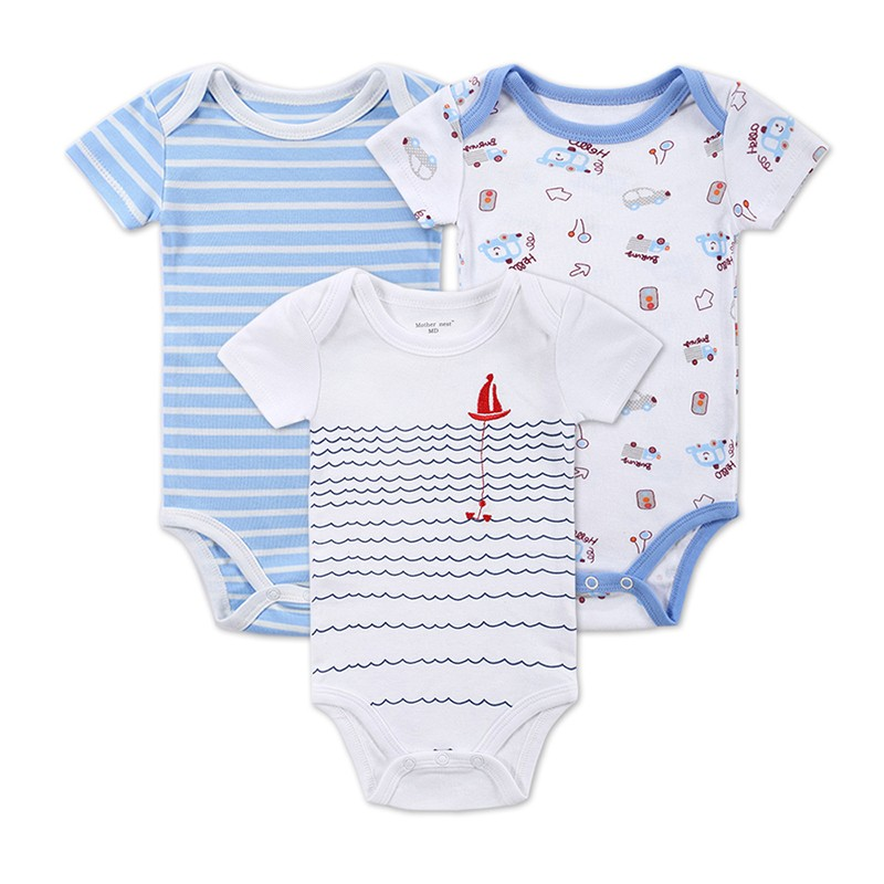 3 Pieceslot Baby Fashion Striped Short Sleeve Rompers Children Jumpsuit Newborn Boys Girls Clothes Body Roupa de bebe Overalls (3)