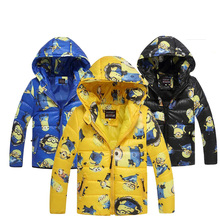 Minion Jacket Kids Down Jacket For Boy Baby Clothes Winter Down Coat Warm Baby Snowsuit Children Girl Hooded black blue yellow