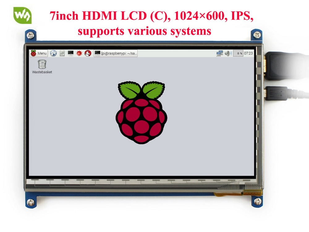 7inch HDMI LCD Screen Rev2.1 Display 1024*600 Capacitive Touch Screen for Raspberry Pi BB Black and Banana Pi/Pro original 7 inch lcd display kr070lf7t for tablet pc display lcd screen 1024 600 40pin free shipping 165 100mm