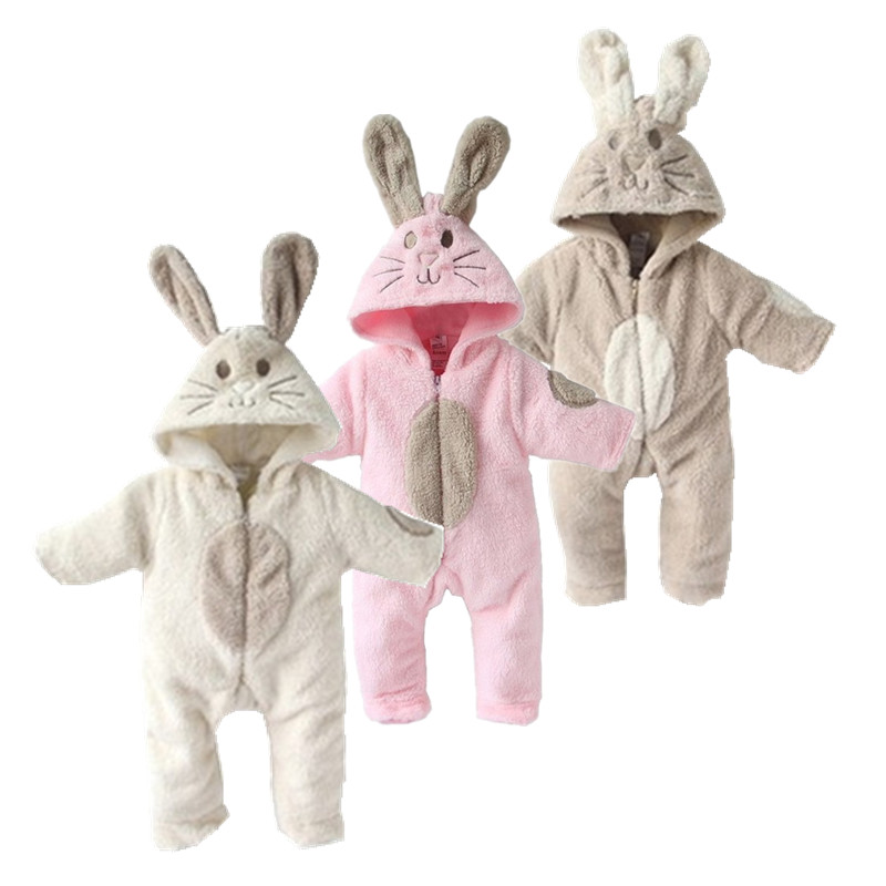 2018 soft Baby Clothes Cute Animal rabbit One Piece Long Sleeve fleece Newborn Baby Romper Baby Costume Clothing Clothes cute rabbit animal shaped soft cloth hand puppet white pink