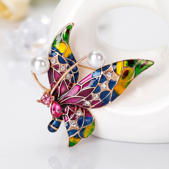 Coloured Drawings Butterfly Brooches For Women Crystal Enamel Brooch For  Lady Dress Accessories Scarf Brooch Pins Jewelry Gift