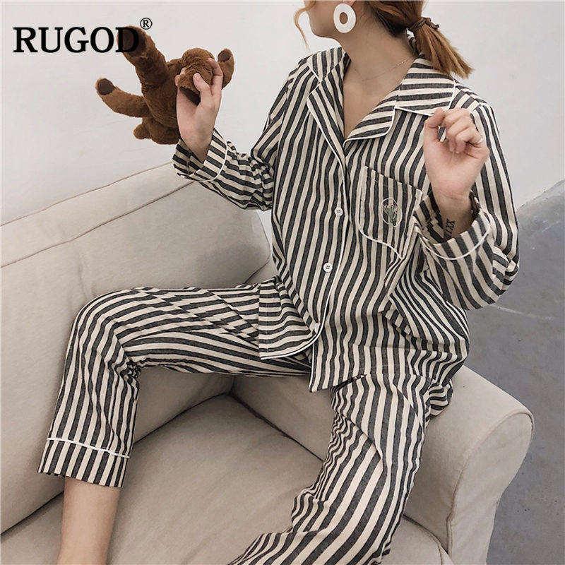 RUGOD Fashion Striped Women Pyjamas Turn-down Collar Long Sleeve Women Homewear Casual Spring Winter WomenS Pyjamas Suits ...