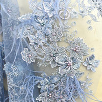 light blue 3D lace fabric with Ostrich feather, nude heavy bead lace fabric for haute couture dress, high end hand beaded lace