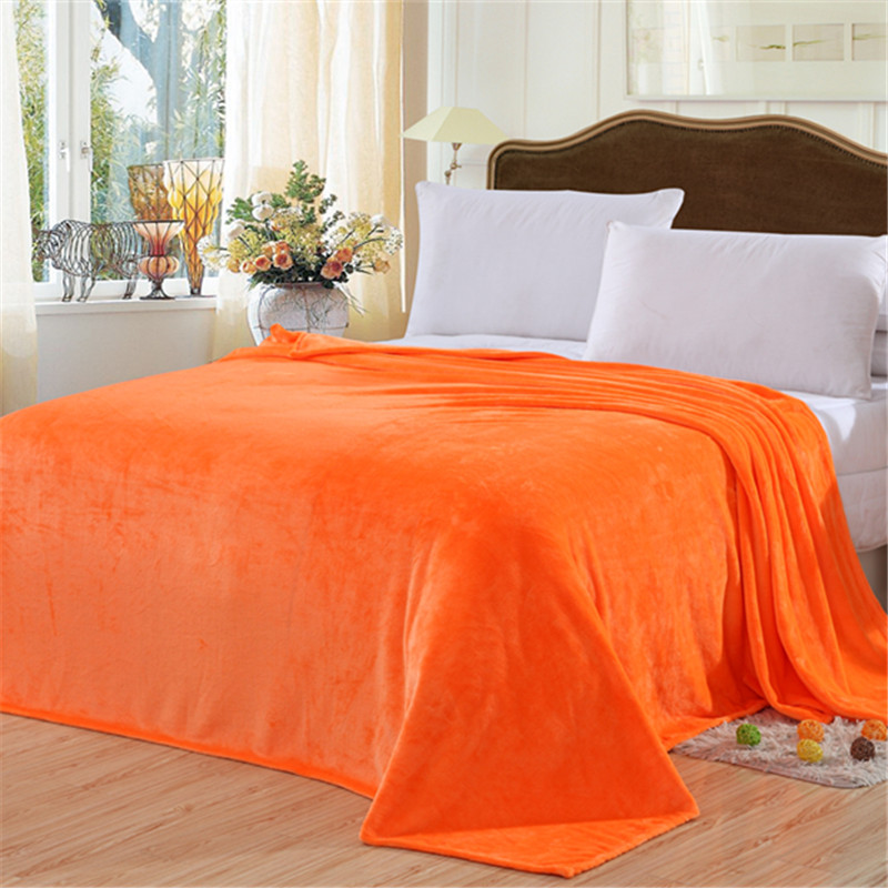2018 blanket Orange yellow solid Warm and portable color bed cover blanket soft and comfortable flannel 4 size