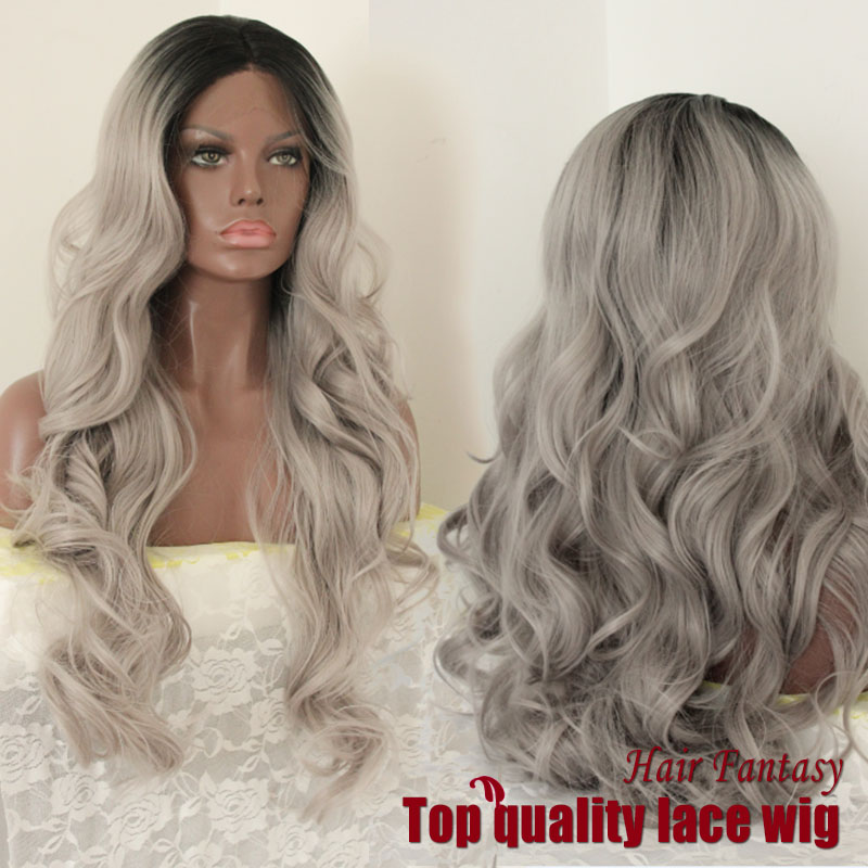 Fashion Ombre Silver Grey Big Wave Synthetic Lace Front