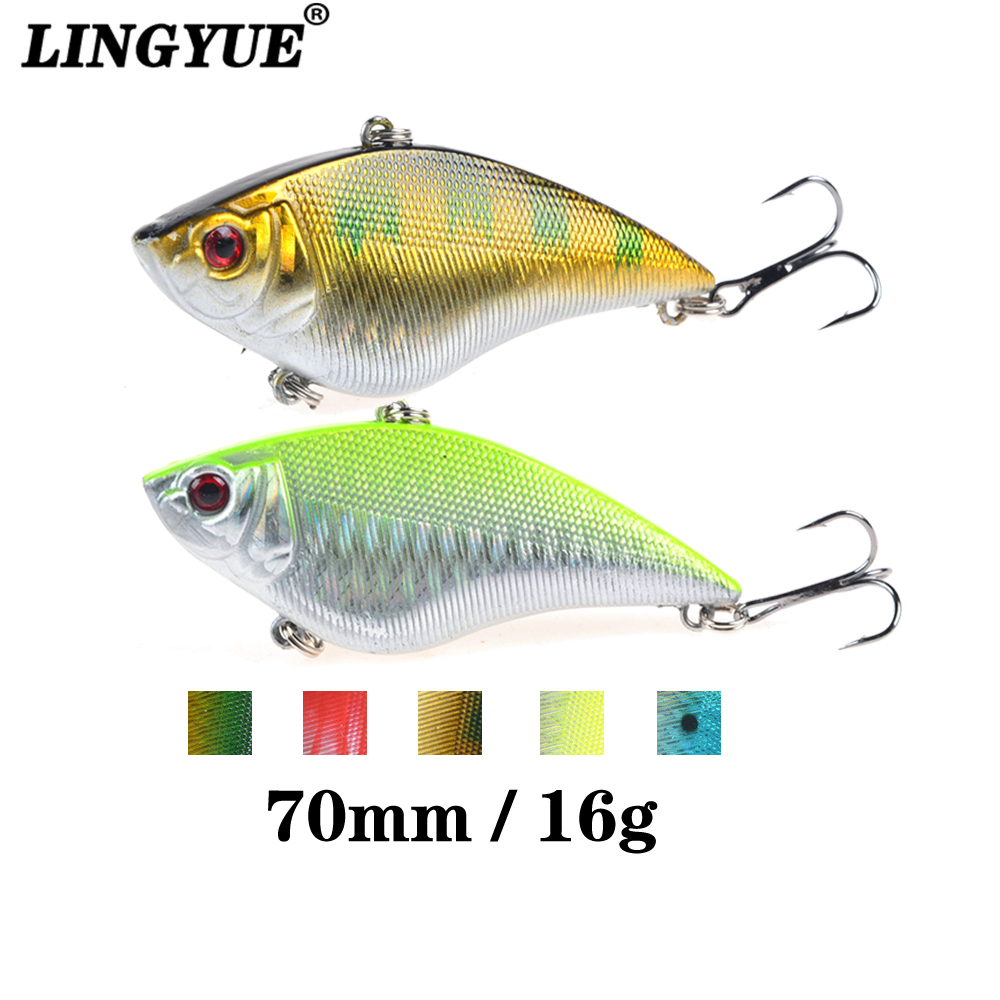 1PCS 16G Hard VIB Lures 7CM Fishing Bait Treble Hooks Sinking Crankbait Fishing Tackle meredith fishing rattlesnake lures 1pcs 20g 7 5cm vib lures fishing vibration for all water levels wobblers hooks carp fishing