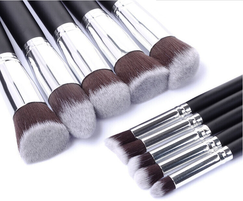 10pcs Silver Make Up Brushes Professional Powder Makeup Brushes Maquiagem Foundation Brush Cosmetic Makeup Tools Accessories Islamabad