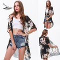 Vintage Floral Rose Black Half Sleeve Loose Chiffon Kimono Cardigan t shirt Jacket Tops 53