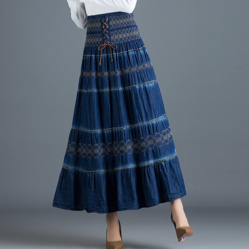 2019 New Spring Summer Woman Vintage High Waist Solid A Line Denim Long Pleated Skirt Elastic Waist Loose Lace Up Long Skirt