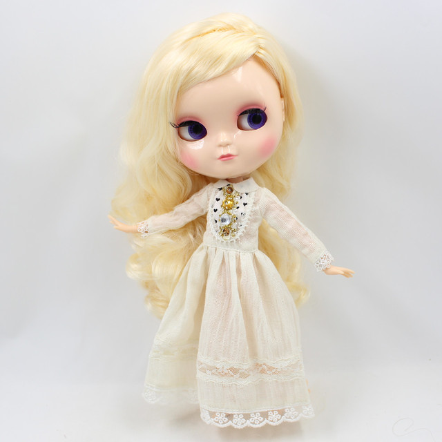 ICY nude doll 30cm small chest Joint Body blond hair side parting No.230BL313340 free shipping Fortune Days