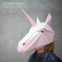 Creative Diy Paper Model Unicorn Horse Mask Masked Men And Women Universal Halloween Costume Party Cos