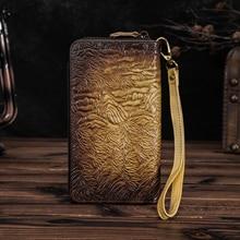 Men Quality leather Fashion Card Holder Checkbook Zipper Around Organizer Chain Wallet Purse Design Clutch Handbag