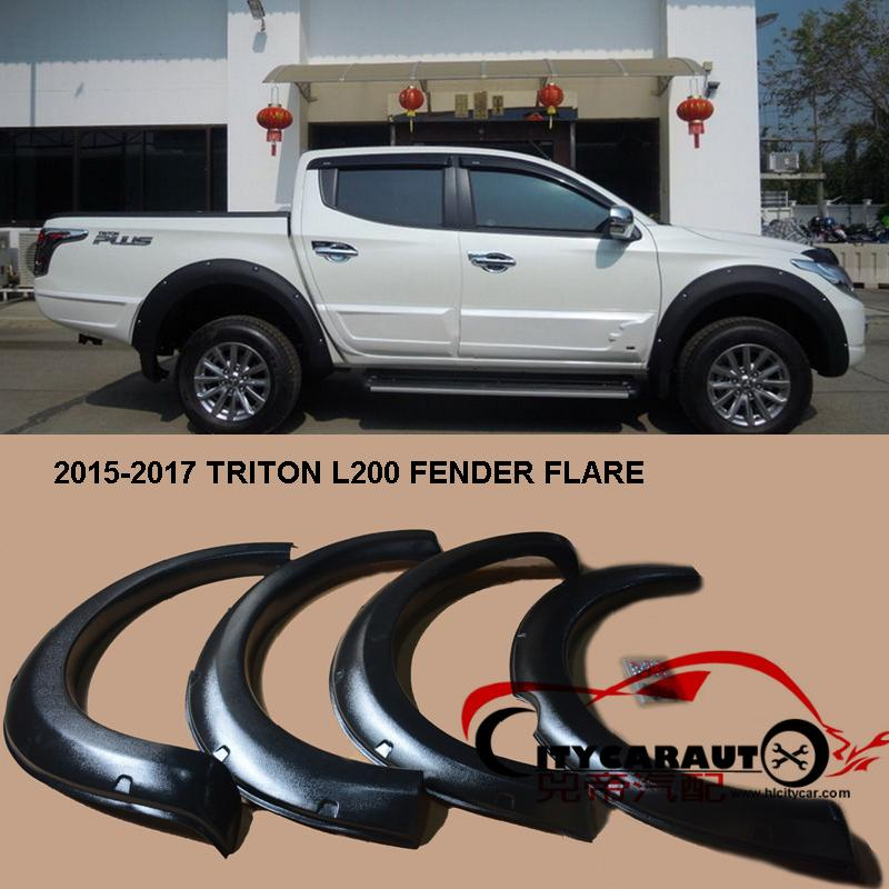 CITYCARAUTO CAR STYLING MOULDING 4 Pcs Complete Set FENDER FLARE FOR TRITON L200 Wide Body Wheel Arch Fender Flare ABS Plastic citycarauto styling mouldings auto original fender flare accessories fit for hilux vigo revo 2015 2017 car