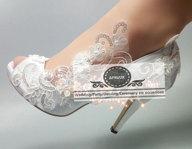 Dentelle fleurs appliques chaussures de mariage mariée extra large grandes tailles 41 42 43 HS288 sexy ouvert peep orteils satin pompes de mariée chaussures
