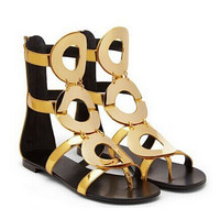 On Sale Summer Shoes Woman Gold Circle Flats Women Sandals Boots Cut Outs Gladiator Sandals Women Ankle Boots Sandalias Mujer