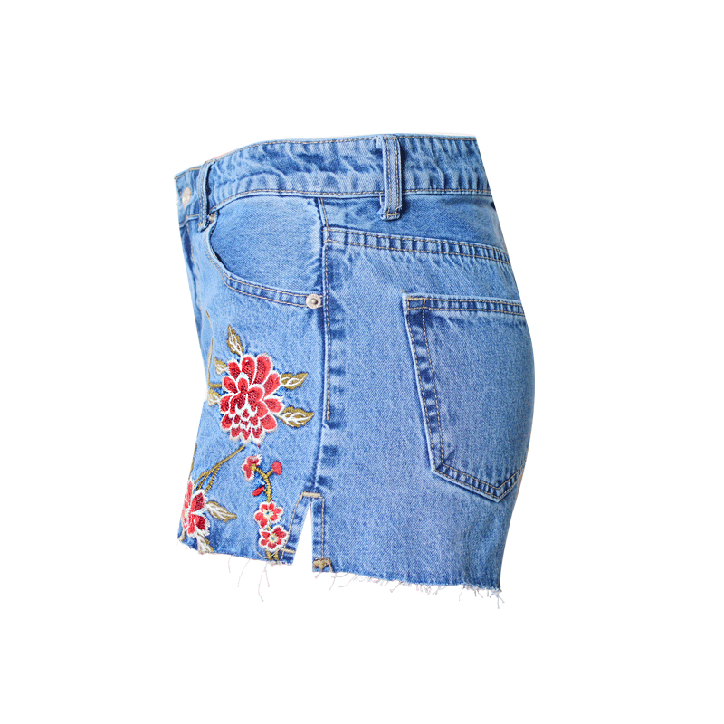 182e3b1827 Chicanary Floral Embroidered Mom Shorts High Rise Ripped Flayed Hems Women  Side Slit Denim Shorts-in Shorts from Women's Clothing on Aliexpress.com ...