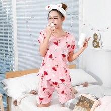 Cartoon Print Women Pajama Sets Female Home 2 Pieces Set Crop Top + Shorts Loose Elastic Waist Shorts Lounge pijama mujer 2019 cartoon print pajama set