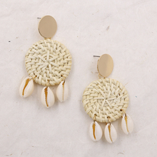 STRATHSPEY Natural Wicker Rattan Earrings for Women Bohemian Shell Earring Multi-color Beach Earing Summer  Pendientes Concha