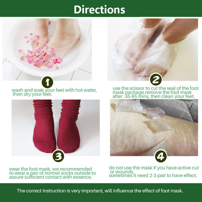 EFERO 3 زوج = 6 قطعة الألوة استخراج تقشير قناع القدمين الجوارب الطفل قناع تقشير القدمين إزالة الكالس الجلد الميت الصلب قناع القدمين للساقين