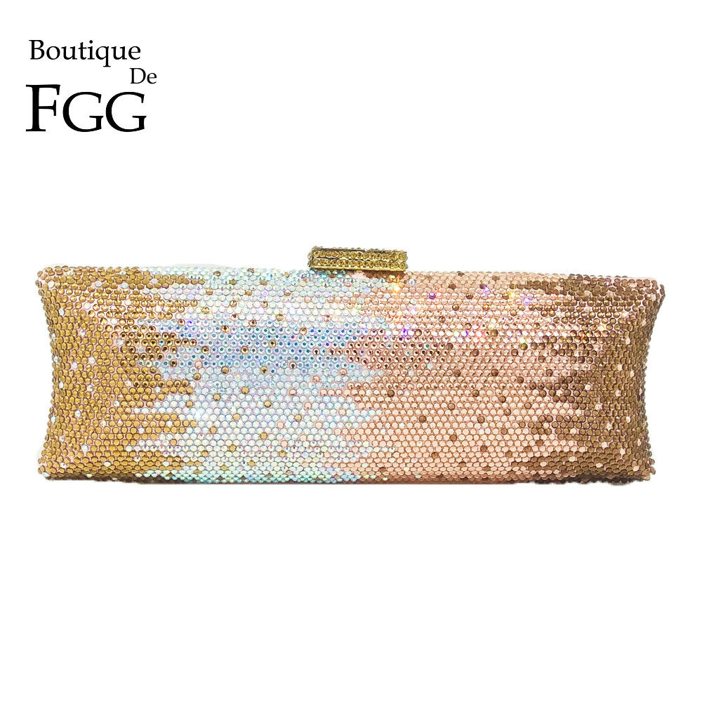 Boutique De FGG Multi Champagne Women Crystal Bag Evening Purse Metal Minaudiere Clutches Wedding Party Bridal Diamond Handbag
