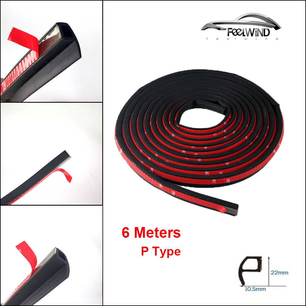 6Meter/pcs P type car sound insulation sealing rubber strip anti Noise Rubber 3m Sticky Tape car door seal for Nissan Qashqai