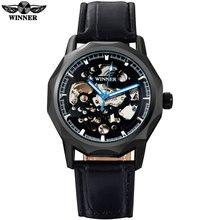 ПОБЕДИТЕЛЬ мужчины мода спорт механические часы кожаный ремешок повседневная марка мужская автоматическая скелет черный корпус часы reloj hombre