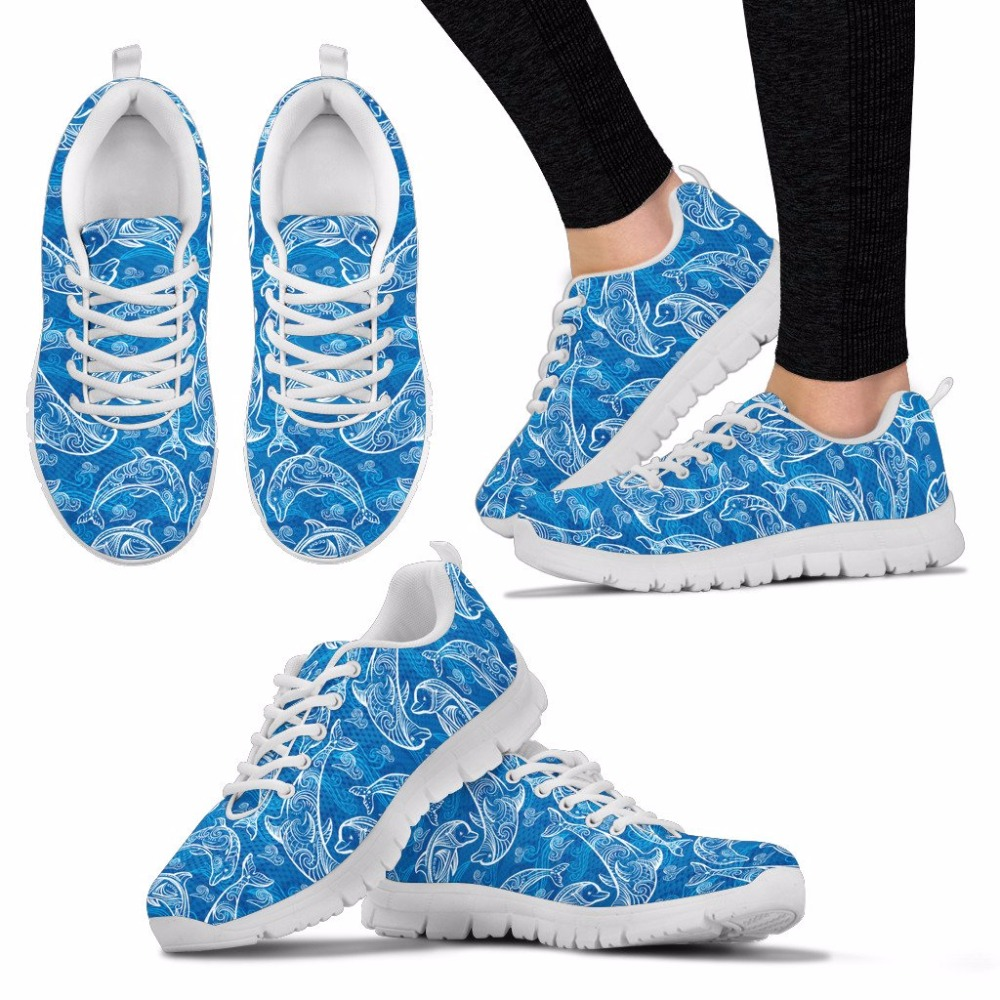 doginthehole women sneakers 2018 new running shoes Dolphin pattern sport shoes for girls lace up mesh gym outdoor tennis shoes