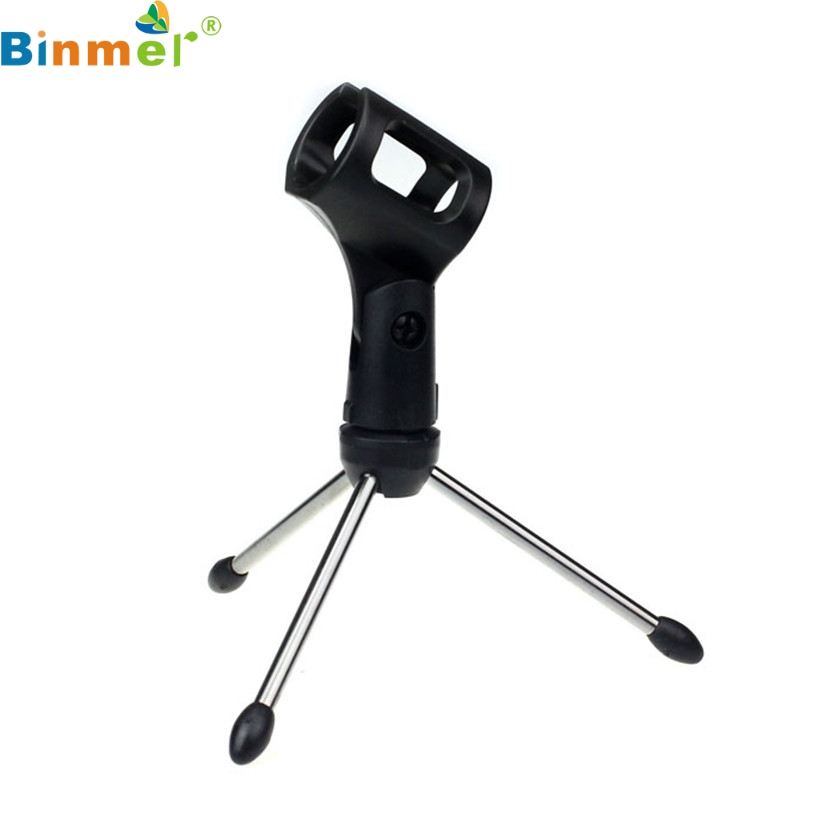 Binmer Factory Price Adjustable Metal Desk Top Mic Microphone Clamp Clip Holder Stand Tripod 60321 Drop Shipping