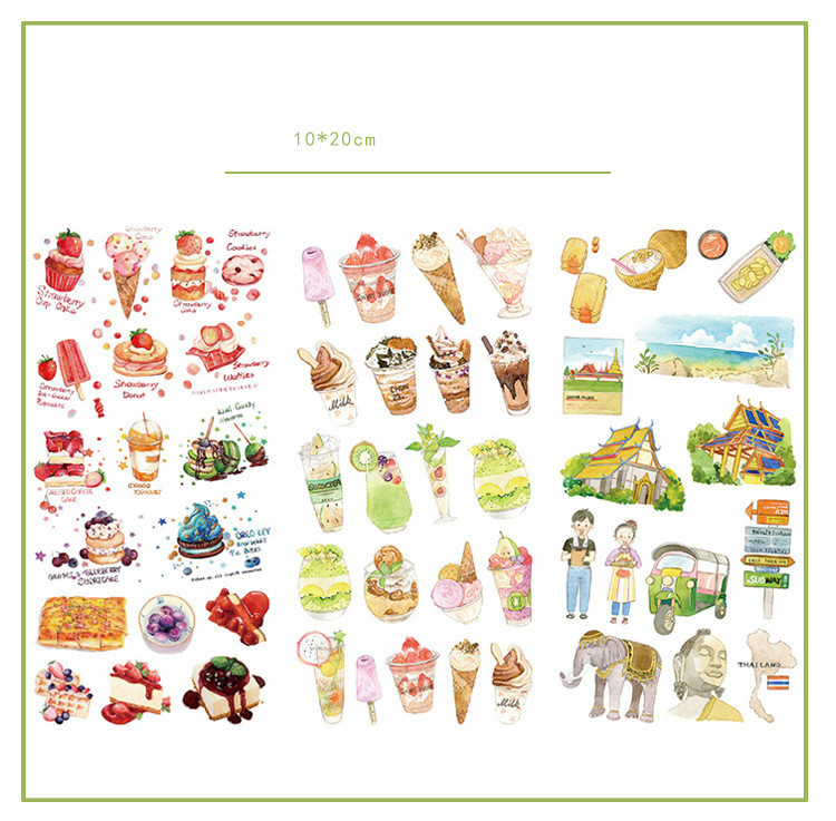 3pcs/lot Delicious Bangkok Food Journal Decorative Stickers Set Scrapbooking Stick Label Diary Stationery Album Stickers