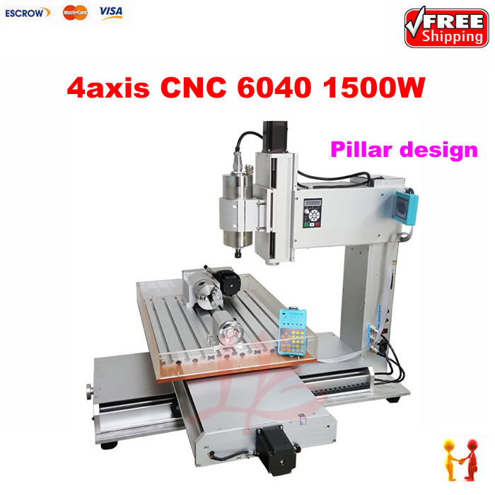 Pillar type 3D cnc milling machine cnc 6040 4 axis cnc router 6040 with 1.5kw spindle for glass wood metal stone aluminum hot sale best 3d cnc wood carving machine 4 axis cnc router 6090 with 1 5kw vfd water cooled spindle for metal stone wood