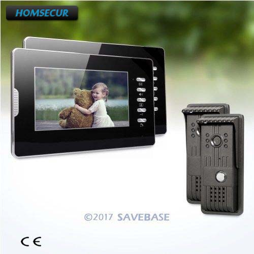HOMSECUR 7 Wired Video Security Door Phone with Mute Mode for Home Security + 2 Cameras + 2 Monitors
