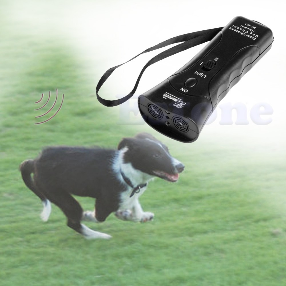 Ultrasonic Dog Chaser Stops Aggressive Animal Attacks Repeller w/ Flashlight C42