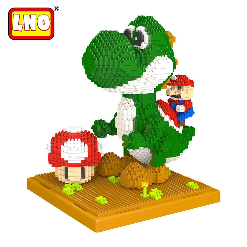 LNO action & toy figures big size diy Mario models nanoblock micro diamond building blocks minute brick educational toy for kid.