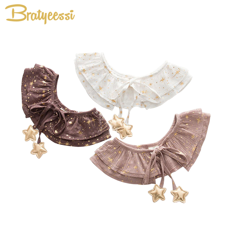 Korea Stars Baby Bibs Lace Up Girls Collar with Bow Tie Lovely Princess Plicate Baberos 1 PC
