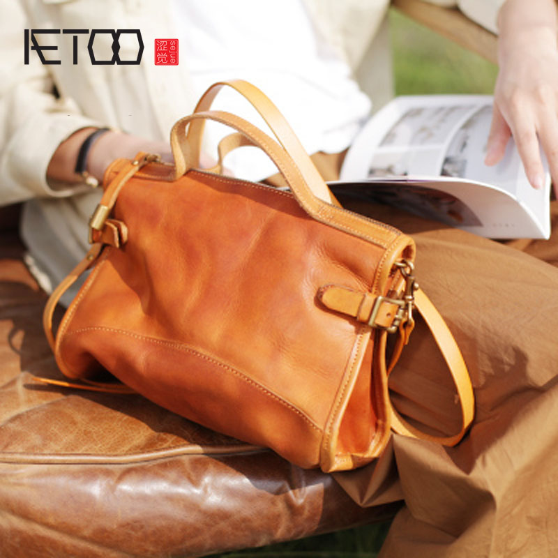 AETOO New ins retro literary leather handbag shoulder diagonal package blue handmade leather port wind bag