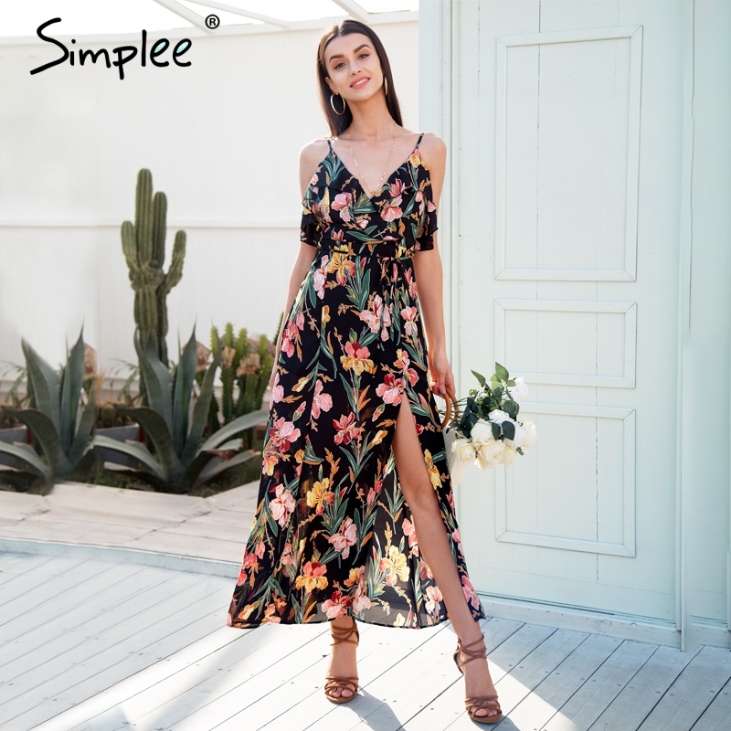 3483c8109af Simplee Casual ruffle split summer dress women Backless boho chic long  dress 2018 Strap beach print