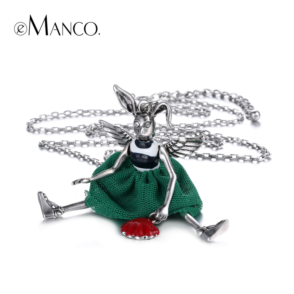 eManco Wholesale Casual Enamel Long Chain Necklace & Pendant Cute Zodiac Bunny Gifts for Women Zinc Alloy Accessories Jewelry women s bohemia tassel style zinc alloy rhinestone pendant necklace black deep blue