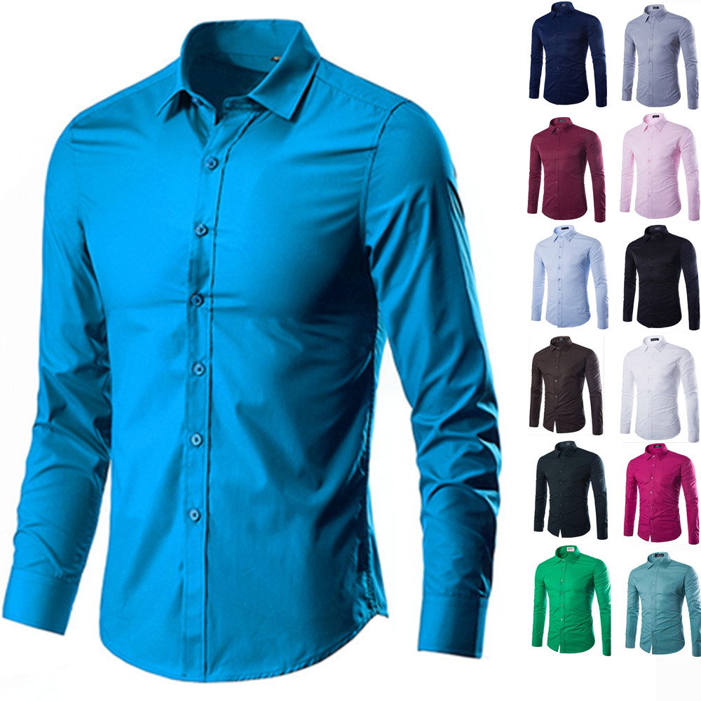 f3f6b8fcf2ca1 DUDALINA 2019 Men Casual Long Sleeved Solid shirt Slim Fit Male Social  Business Dress Shirt Brand Men Clothing Soft Comfortable