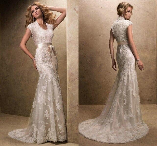 Modest Wedding Dress With Sleeves Vintage V Neck Vestidos