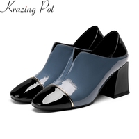 2019 superstar big size genuine leather mixed colors round toe elegant women pumps high heels party office lady spring shoes L27