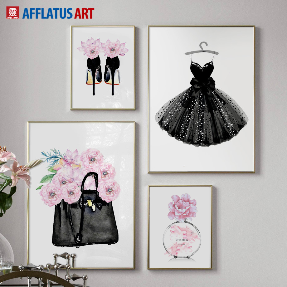 Fashion Dress Handbag Paris Perfume Wall Art Canvas Painting Nordic Posters And Prints Wall Pictures For Living Room Decor