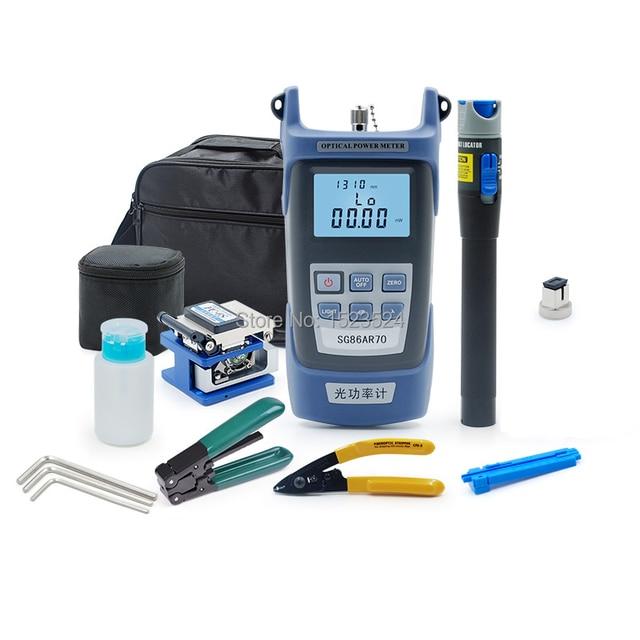 10pcs/set FTTH Fiber Optic Tool Kit with Fiber Cleaver Fiber Optic Stripper Optical Power Meter Visual Fault Lcator 5km
