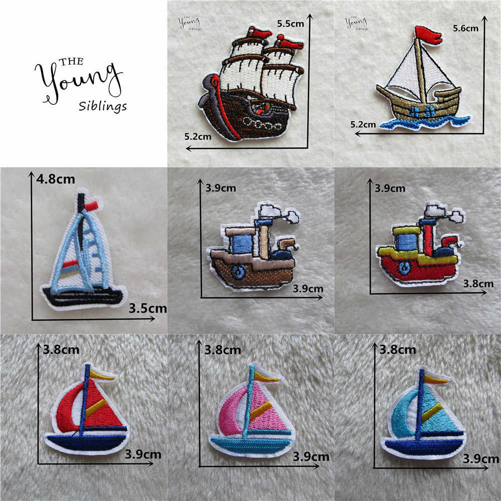 1PCS Embroidery Patches For Clothing Sailing Boats Cartoon Patch Iron On Applique Garment Sewing Patch DIY Stickers Accessories